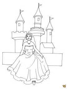 Coloriage Princesse Et Chateau