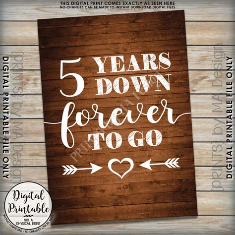 5 years forever to go 5th wedding anniversary gift wedding gift anniversary gift