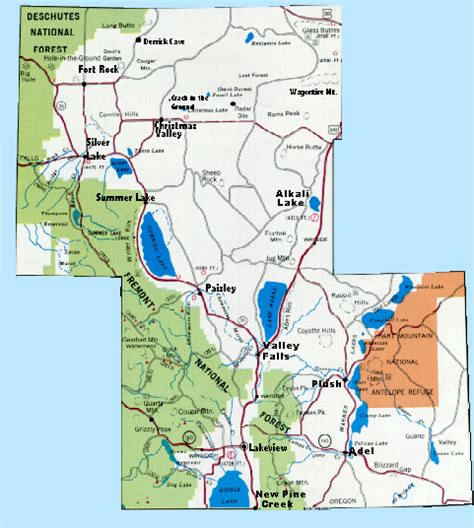 lake oregon map rootsweb lake county or map page