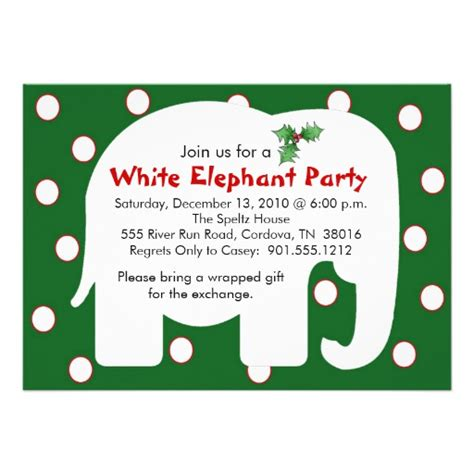 white elephant holiday party invitations zazzle