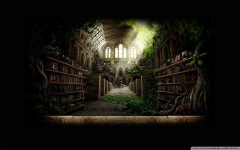 Contact Paper On Bookshelf Library Fantasy Wallpaper 1920x1200 Library Fantasy Art