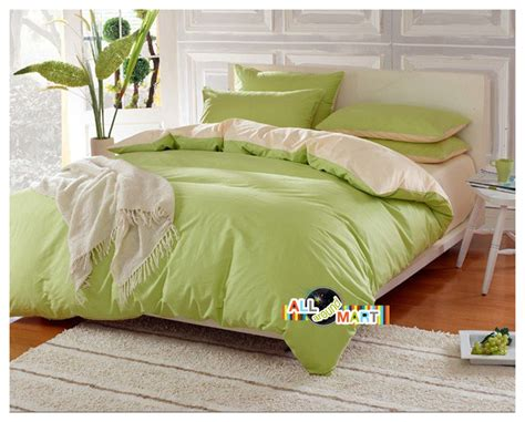 Light Green Bedding by Free Shipping 4pcs Cotton Contrast Color Bedding Set