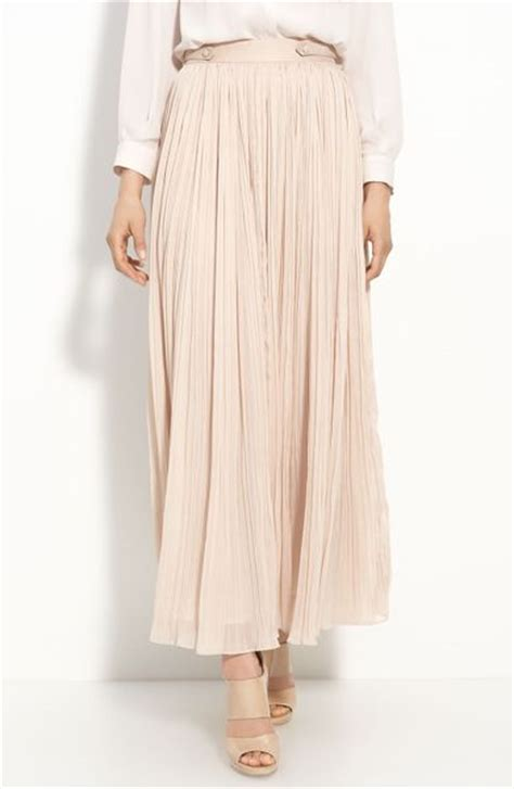 mcginn pleated maxi skirt in pink light pink lyst