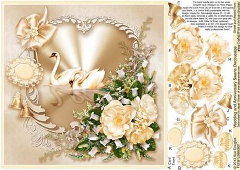 Wedding and Anniversary Swans Decoupage  8in x 8in