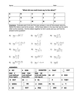What Did One Math Book Say To The Other Worksheet by Limit Joke Worksheet By Mrscookkhs Teachers Pay Teachers