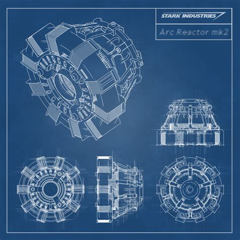 iron stark industries arc reactor blueprint by