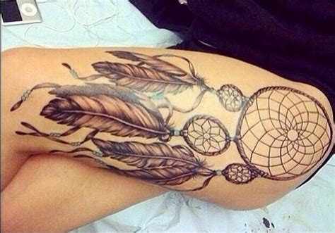 dream catcher tattoo on hip bone hip leg tattoo dream catcher