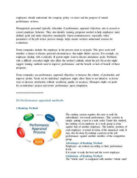 performance appraisal an objective look performance appraisal objectives exles