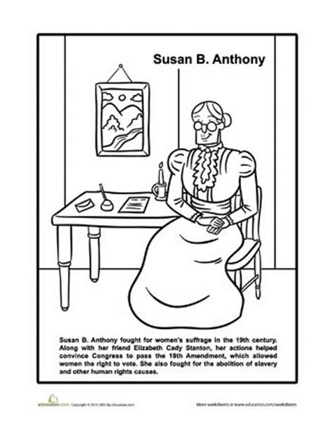 Susan B Anthony Coloring Page susan b anthony coloring page february march