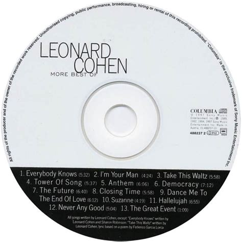 the best of leonard cohen car 225 tula cd de leonard cohen more best of leonard cohen