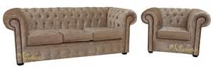 Chesterfield Sofa Velvet Fabric Chesterfield 3 Seater Sofa Club Chair Senso Oyster Velvet Fabric Suite