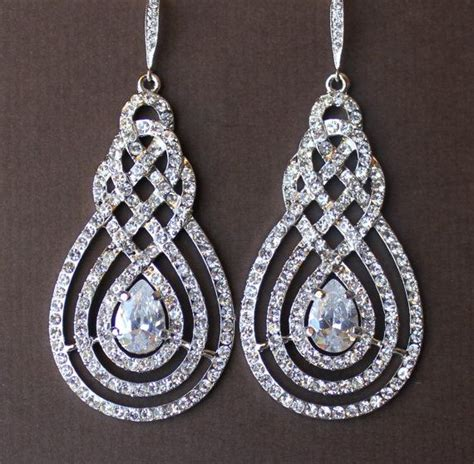 Chandelier Earrings For Wedding Pave Bridal Chandelier Earrings Vintage Deco Modern Vintage Bri