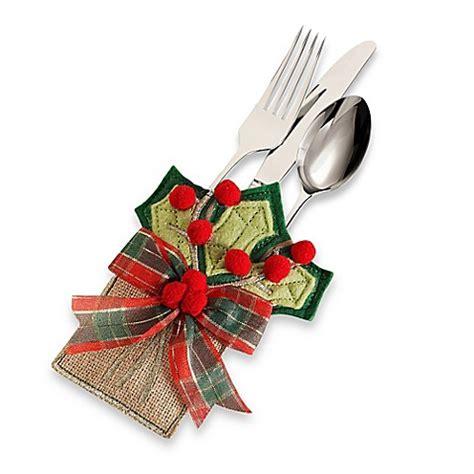buy holly berries burlap utensil holders set of 4 from