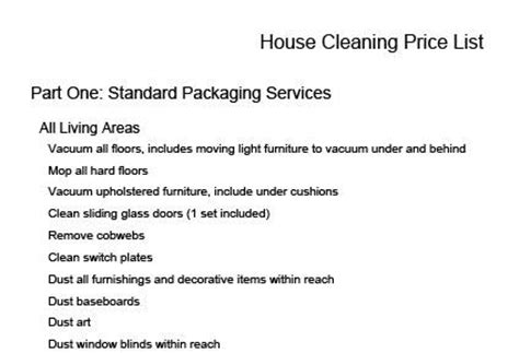 house cleaning prices house cleaning price list lovetoknow