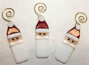 fused glass santa ornaments set of 3