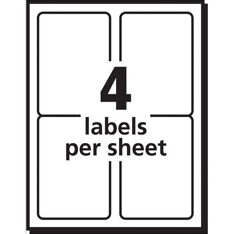 label template 4 per page avery shipping labels for inkjet printers 3 5 x 5 inches box of 100 8168 n 72782081683 ebay