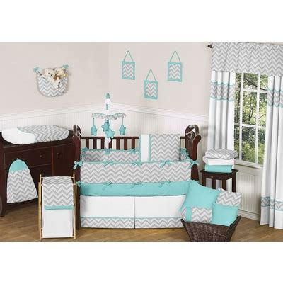 Grey And Turquoise Crib Bedding Zig Zag Turquoise And Gray Chevron Crib Bedding Collection