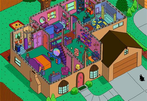 the simpsons house floor plan simpson s house cutaway second floor by ajdelong on deviantart