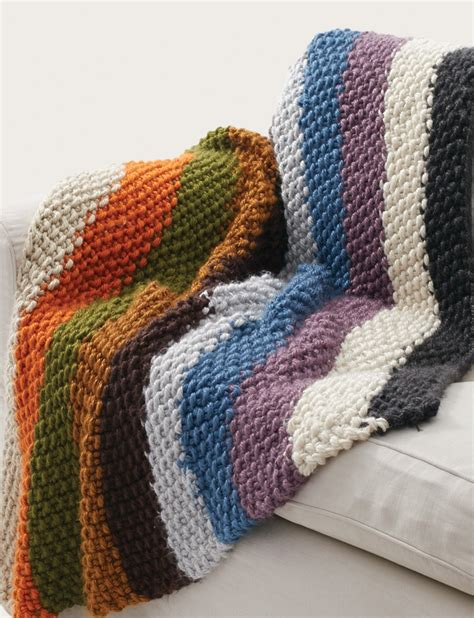 pattern knitted quilt bernat seed stitch blanket cozy chunky rainbow striped