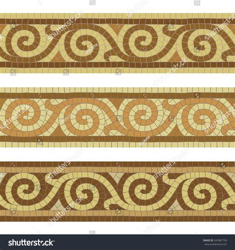Seamless mosaic tile antique greek borders stock vector