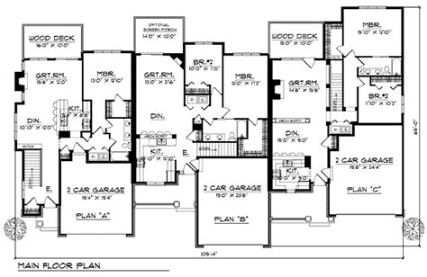Floor Plans For Multi Family Homes by Multi Family Plan 73483 At Familyhomeplanscom Multi