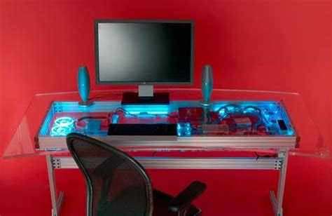 Liquid Cooled Combined Computer And Desk Design High Tech Computer Desk