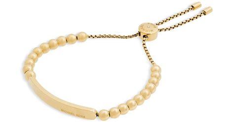 michael kors beaded bracelet michael kors beaded slider bracelet in metallic lyst