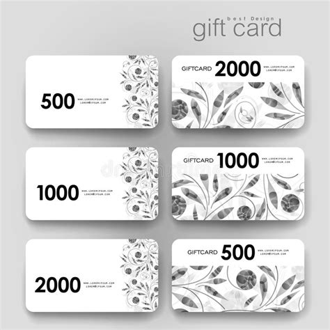 gift card layout template gift coupon discount card template with floral ornament