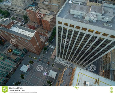 top down view of buildings in downtown raleigh nc stock