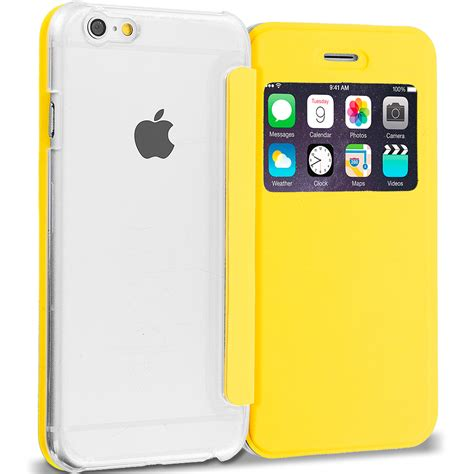 for apple iphone 6s plus wallet clear window flip cover yellow ebay