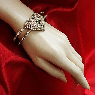 VINTAGE COSTUME ANTIQUE ESTATE JEWELRY BRACELETS! Clear Crystal Rhinestone Sweet Heart Goldtone