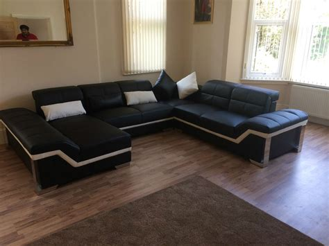 Brand New Large Leather Corner Sofa Suite Designer