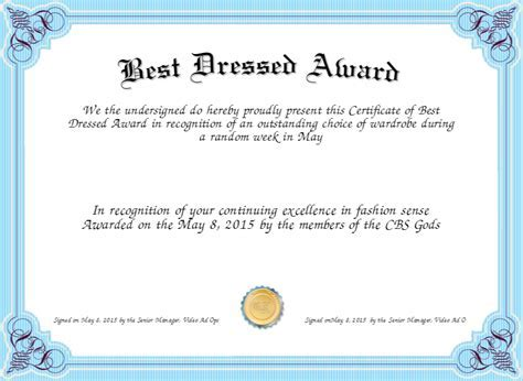 Award certificate template 13 free certificate templates for best dressed award certificate created with certificatefun yadclub Choice Image