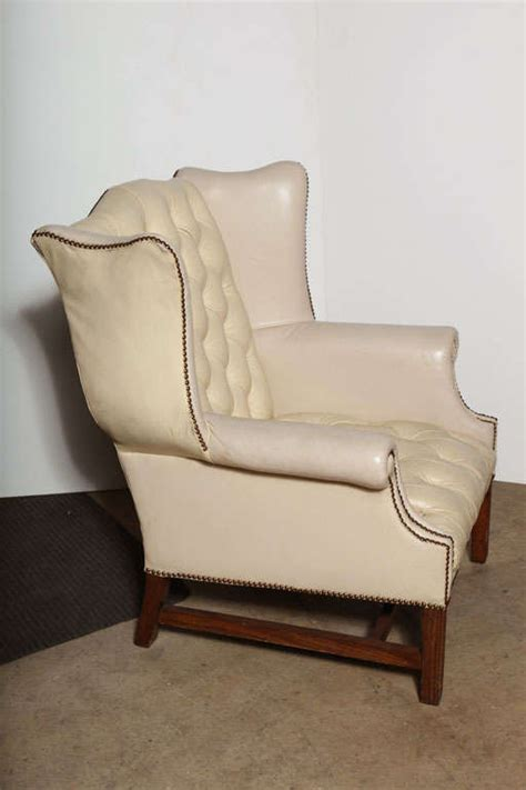 76 off leather library reading chair chairs off white leather wing back chair at 1stdibs
