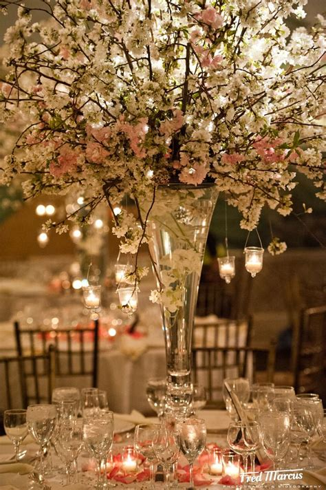 cherry blossom arrangements hanging candles and cherry blossoms if im ever a bride