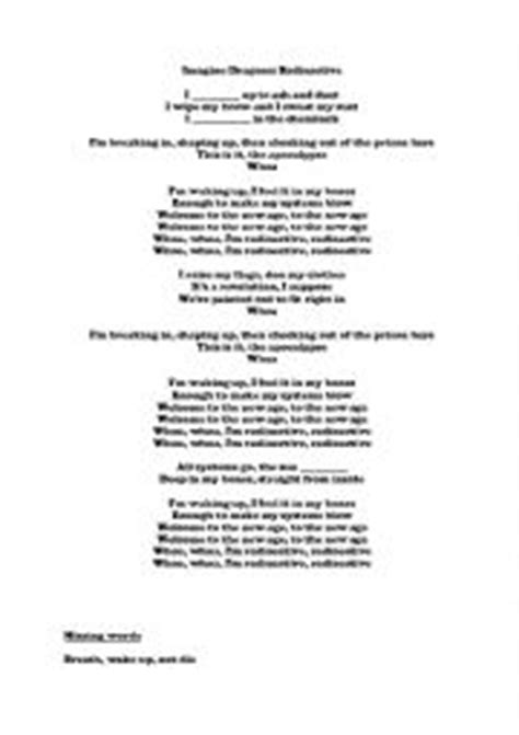 printable radioactive lyrics english worksheets imagine dragon radioactive song lyrics