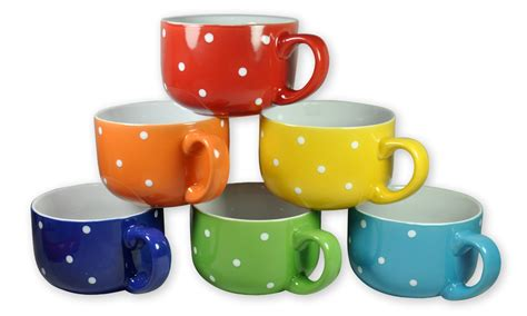 Set of 6 Large Sized 14 Ounce Colored Ceramic Coffee & Soup Mugs Only $15.80 Shipped! (reg. $49.99)