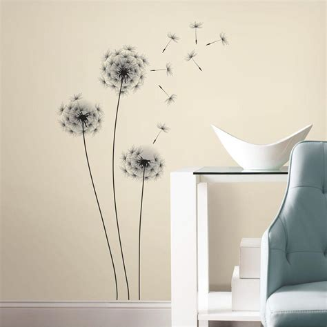 peel and stick wall decor roommates 19 in black whimsical dandelion peel and stick