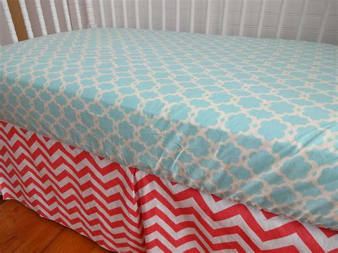 Coral Chevron And Turquoise Crib Or Toddler By Coral Chevron Crib Bedding