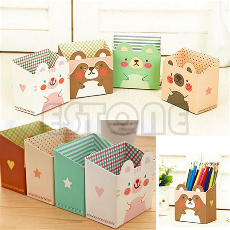 Diy Desk Organizer Diy Paper Stationary Makeup Cosmetic Desk Organizer Storage Box Cat Ebay