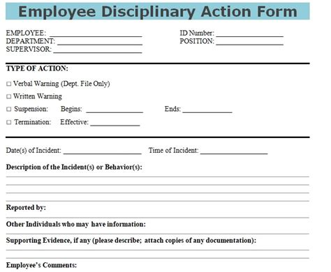disciplinary action form disciplinary action form exle