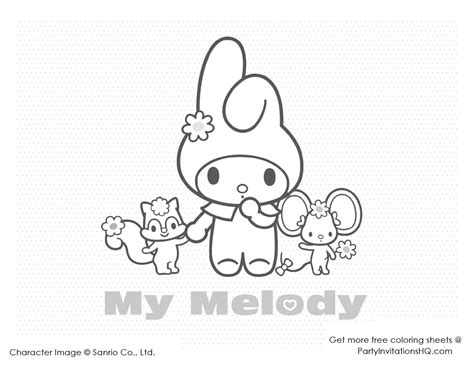 my melody coloring pages my melody colouring sheets cute kawaii resources