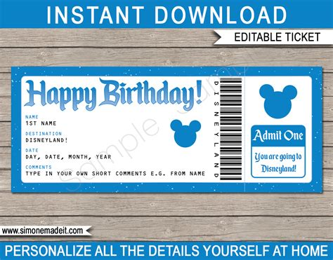 printable disneyland tickets surprise birthday trip to disneyland ticket printable