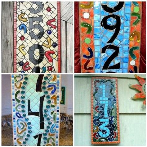 house numbers pattern custom stained glass mosaic house number or name sign