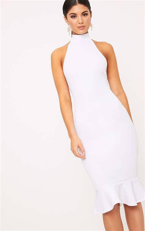 White Neck Dress high neck dresses roll neck choker dress prettylittlething