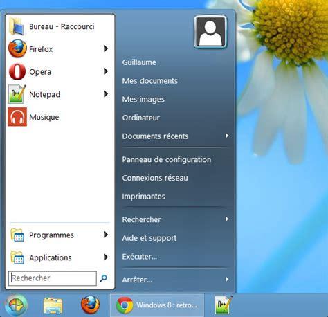 application bureau windows 7 windows 8 retrouver le menu d 233 marrer classique de