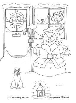 snowman scene coloring page christmas snow scenes
