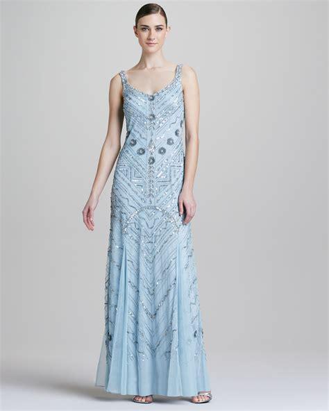 blue beaded gown aidan mattox beaded scoopneck chiffon gown in blue lyst