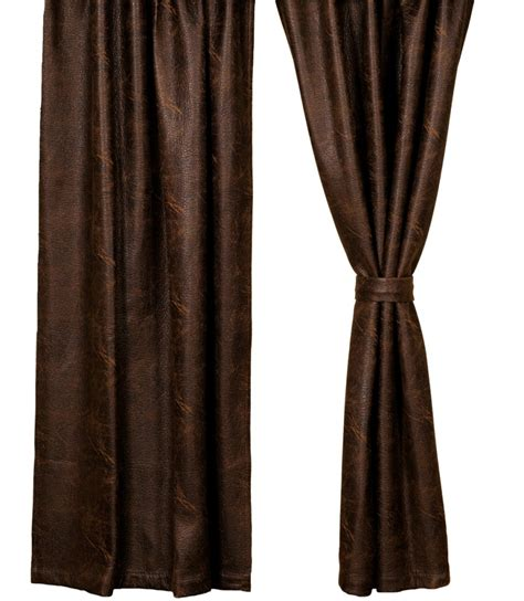 leather curtains drapes colt coffee brown faux leather drapery set
