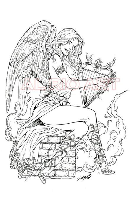 colouring book for adults guardian with harp by al oa by alrioart deviantart on